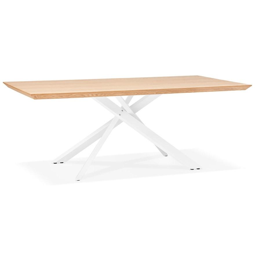Table à Diner Walaby En Bois Finition Naturelle Avec Pied Central En X Blanc 200x100 Cm