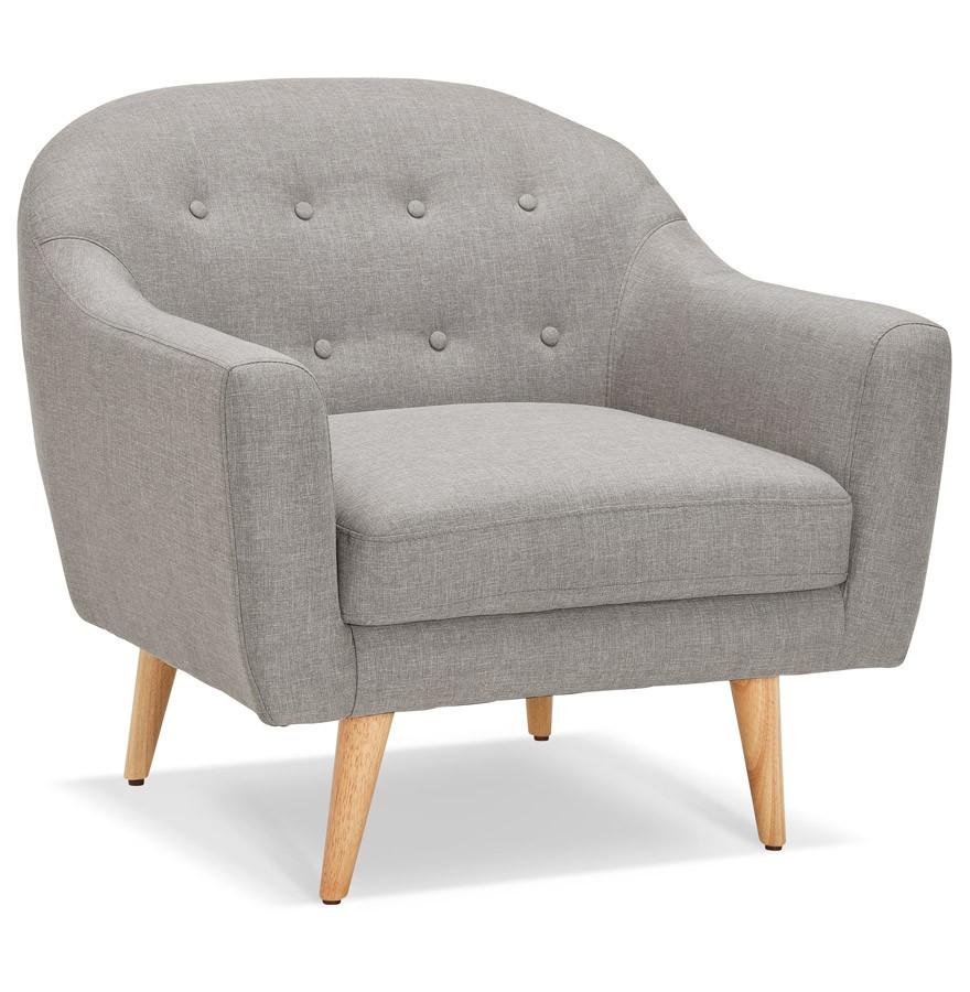 fauteuil de salon 1 place winston mini en tissu gris capitonn. Black Bedroom Furniture Sets. Home Design Ideas