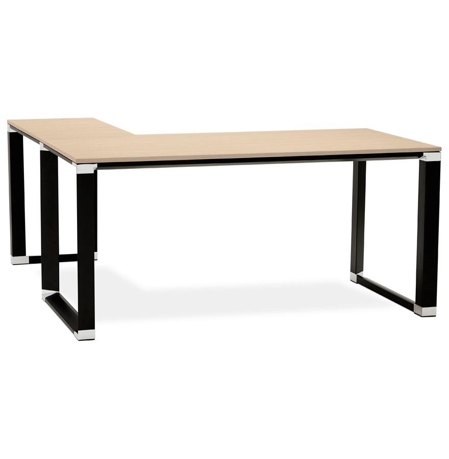 bureau d 39 angle design xline en bois finition naturelle et m tal noir. Black Bedroom Furniture Sets. Home Design Ideas