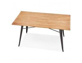 Table de salle à manger style industriel 'ALPHA' en bois massif et métal noir - 150x80 cm