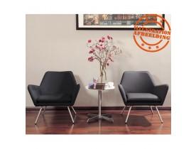Fauteuil lounge design 'AMERIKA' en matière synthétique noire