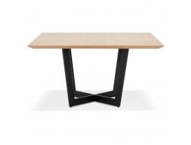 Table de salle à manger carrée 'ANITA' en bois finition naturelle et métal noir - 140x140 cm