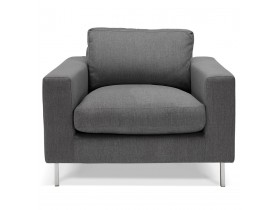Fauteuil de salon 1 place moderne 'AUGUSTIN MINI' en tissu gris foncé