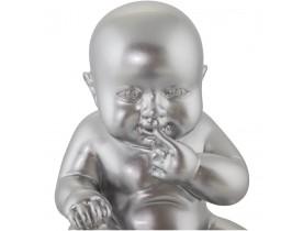 Statue déco 'BABY' bébé assis en polyrésine grise argentée