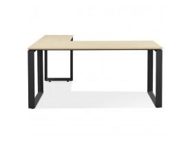 Bureau d'angle design 'BAKUS' en bois finition naturelle et métal noir - 160 cm