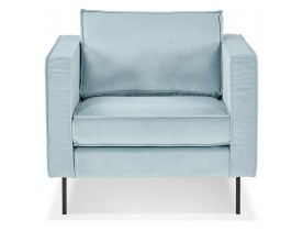 Fauteuil de salon 1 place 'BANDY MICRO' en velours bleu clair
