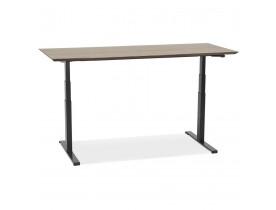 Bureau assis-debout électrique 'BIONIK'avec plateau en bois finition Noyer et pied en métal noir - 180x90 cm