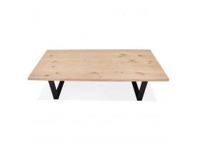 Table à manger style tronc d'arbre 'BOTANIK' en chêne massif et métal noir - 200x100 cm