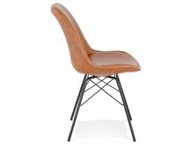 Chaise design 'BRAVO' en matière synthétique brune et pieds en métal noir