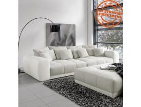 Grand canapé droit 'BYOUTY' blanc et gris clair 4 places en similicuir et tissu