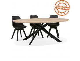 Table à manger ovale 'CABANA' en chêne massif avec pied en x en métal noir - Ø 200 cm