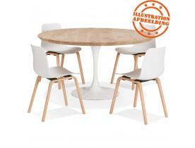 Table à manger ronde 'CANOPY' en chêne massif avec pied central en métal blanc - Ø 140 cm