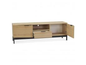 Meubles tv design 'CATODIK' en bois finition naturelle et métal noir