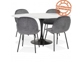 Table à manger 'CHAMAN' ovale en verre blanc effet marbre et pied central noir - 160x105 cm