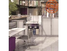 Armoire de bureau à rideaux 'CLASSIFY' grise métallique - 136x120 cm