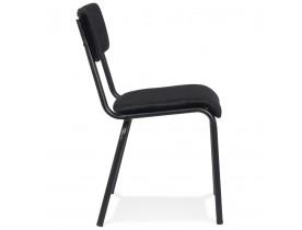 Chaise de cuisine 'CLUSAZ' en velours noir classique empilable