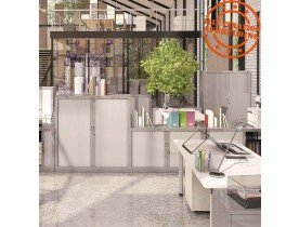 Armoire de bureau à rideaux 'CLASSIFY' blanche métallique - 136x120 cm