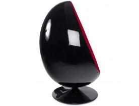 Fauteuil oeuf 'COCOON' noir et rouge