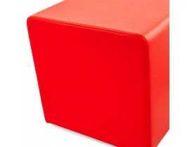 Pouf 'CUBE' de salon en similicuir rouge
