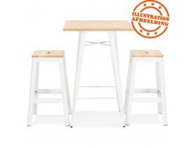 Table haute style industriel 'DARIUS' en bois clair et pieds en métal blanc