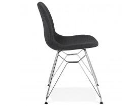Chaise design 'DECLIK' gris foncé avec pieds en métal chromé