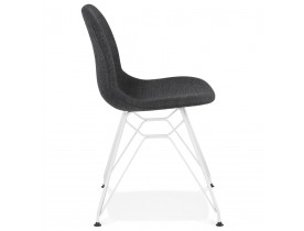 Chaise design 'DECLIK' grise foncée avec pieds en métal blanc