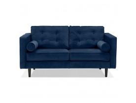 Canapé droit design 'DELYA' en velours bleu foncé - Canapé 2 places