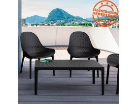 Table basse de jardin 'DOTY' noire design - 100x60 cm