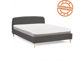 Lit 2 personnes 'DREAM' avec revêtement en tissu gris anthracite - 160x200 cm