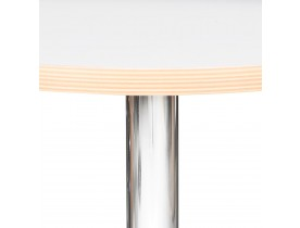 Table haute ronde 'ELIOT ROUND' blanche avec un pied en métal chromé - Ø 60 cm