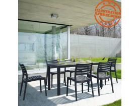 Table de jardin 'ENOTECA' design en matière plastique gris foncé - 140x80 cm