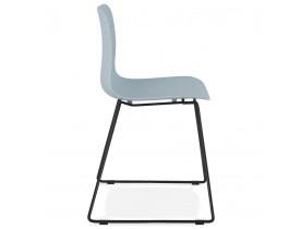Chaise moderne 'EXPO' bleue avec pieds en métal noir