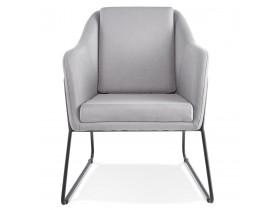 Fauteuil lounge design 'FABIO' en tissu gris clair