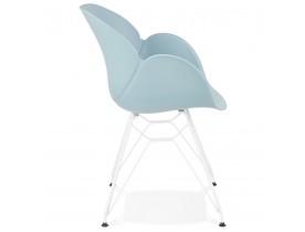 Chaise moderne 'FIDJI' bleue avec pieds en métal blanc