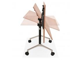 Grand bureau pliable 'FLEXO' sur roulettes en bois finition Noyer - 160x80 cm