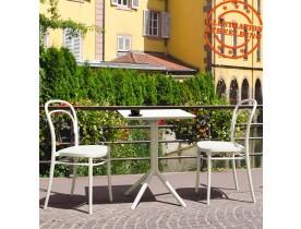 Table de terrasse pliable 'FOLY' carrée blanche - 60x60 cm