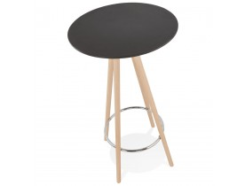 Table haute / Mange-debout rond 'GALA' en bois noir et pieds finition naturelle