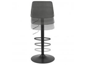 Tabouret réglable 'GARRY' gris confortable avec pied en métal noir