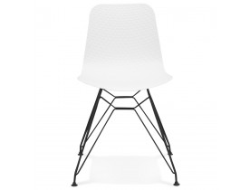 Chaise design 'GAUDY' blanche style industriel avec pied en métal noir