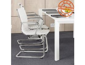 Chaise de bureau design 'GIGA' en similicuir blanc