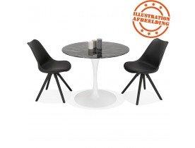 Table à manger 'GOST' ronde en verre noir effet marbre et pied central blanc - Ø 90 CM