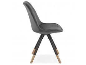 Chaise design 'HAMILTON' en velours gris et pieds en bois noir
