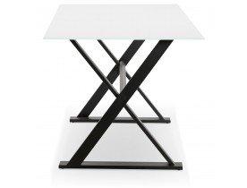 Table à diner / bureau design 'HAVANA' en verre blanc - 160x80 cm