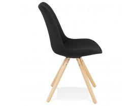 Chaise scandinave 'HIPHOP' en tissu noir avec pieds en bois finition naturelle