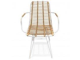 Chaise avec accoudoirs 'BASTIA' en rotin couleur naturelle et métal blanc - intérieur / extérieur