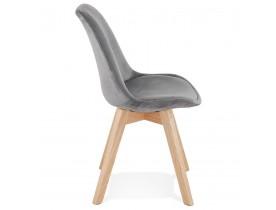 Chaise en velours gris 'JOE' avec structure en bois naturel