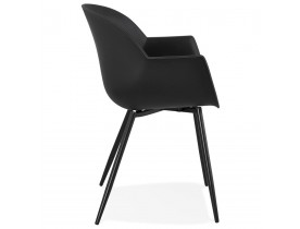 Chaise à accoudoirs 'KELLY' noire design