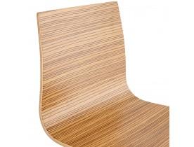 Tabouret haut 'KWATRO' en bois finition Zebrano sur 4 pieds