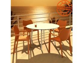 Table de terrasse ronde 'LAGOON' blanche intérieur / extérieur  - Ø 120 cm