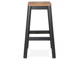 Tabouret haut style industriel 'LIDYA' avec structure en métal noir et assise en bois